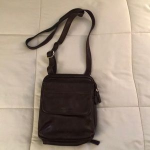 Fossil brown leather crossbody purse